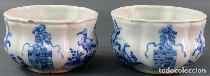 Antigüedades: Jarra con dos cuencos y un tazón en cerámica blanca y azul Talavera Ruiz de Luna ppos s xx - Foto 6 - 181008417