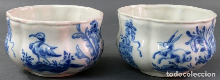 Antigüedades: Jarra con dos cuencos y un tazón en cerámica blanca y azul Talavera Ruiz de Luna ppos s xx - Foto 7 - 181008417