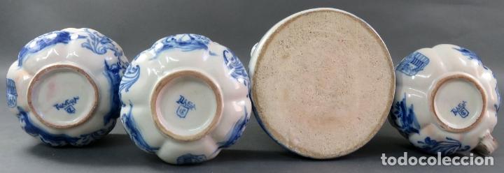 Antigüedades: Jarra con dos cuencos y un tazón en cerámica blanca y azul Talavera Ruiz de Luna ppos s xx - Foto 11 - 181008417