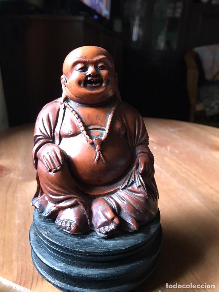 Antigüedades: Buda Feliz, gordo, con peana de madera, vintage. - Foto 4 - 181021755