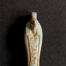 Antigüedades: USHABTI DE PIEDRA TURQUESA TALLADA. Lote 181038350