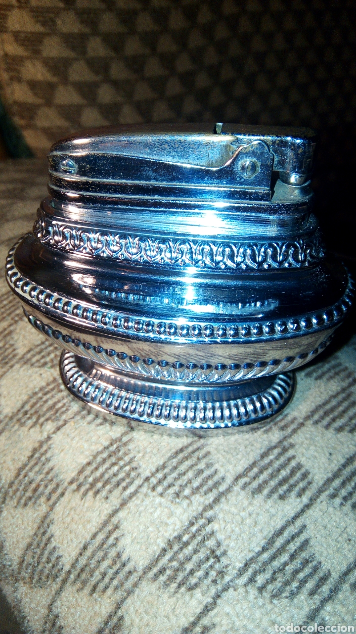 MECHERO DE MESA ANTIGUO QUEEN STAR SUPER LIGHTER PTNO 399 312 (Antigüedades - Platería - Bañado en Plata Antiguo)