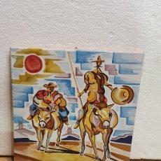 Antigüedades: AZULEJO SANCHO Y QUIJOTE 30 X 30 CM. Lote 181098610