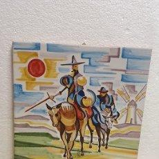 Antigüedades: AZULEJO SANCHO Y QUIJOTE 30 X 30 CM. Lote 181098636