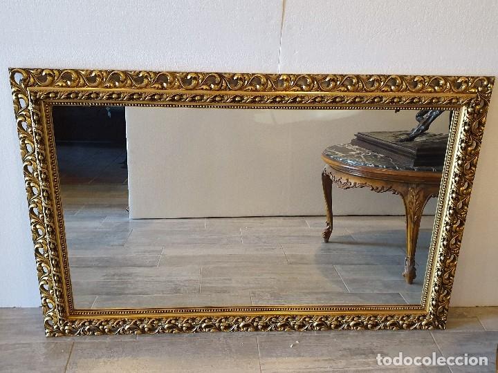 ESPEJO DE MADERA PAN DE ORO (Antigüedades - Muebles Antiguos - Espejos Antiguos)