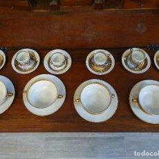 Antigüedades: JUEGO TAZAS CAFE PORCELANA DE LIMOGES 24 PIEZAS. Lote 181100406