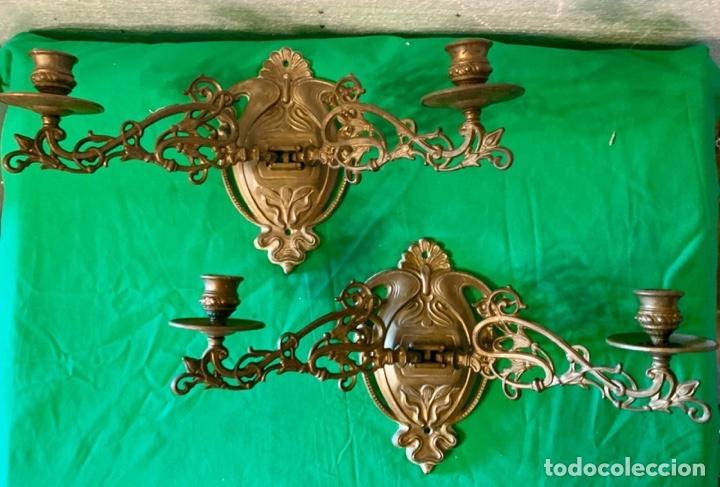 PAREJA DE APLIQUES DE PARED (Antigüedades - Iluminación - Apliques Antiguos)