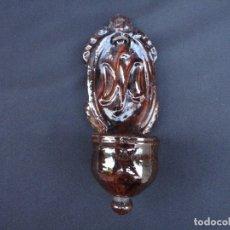 Antigüedades: ALFARERÍA CATALANA: PILA BENDITERA DE OLOT. Lote 181121858