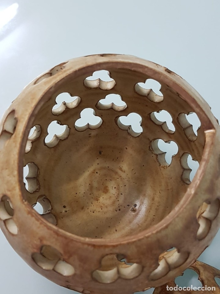 Antigüedades: PRECIOSO CANDELERO DE CERÁMICA. FIRMADO JAVI. VALLADOLID?. CON FORMA DE CALABAZA. 18X15 CM. - Foto 8 - 181008358