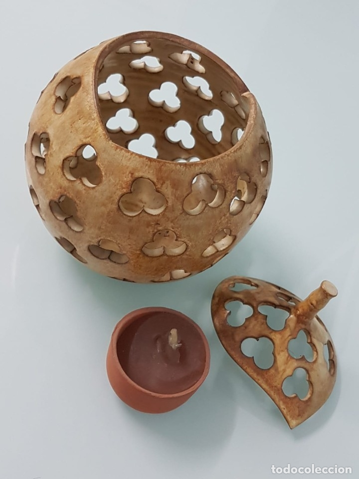 Antigüedades: PRECIOSO CANDELERO DE CERÁMICA. FIRMADO JAVI. VALLADOLID?. CON FORMA DE CALABAZA. 18X15 CM. - Foto 9 - 181008358