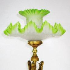 Antigüedades: ESPECTACULAR LAMPARA CIRCA 1900 BRONCE IMPERIO Y TULIPAS FLOR ISABELINA. Lote 181174585