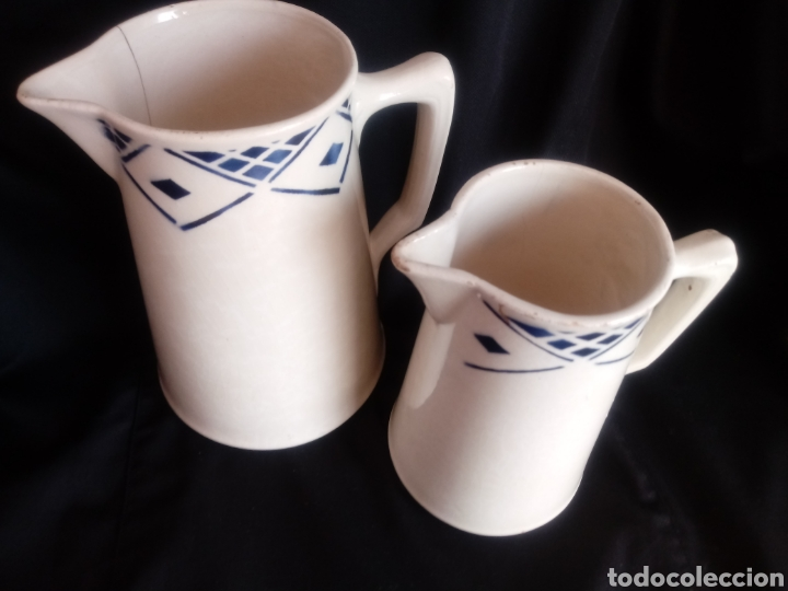 Antigüedades: Pareja de jarras lecheras de cerámica vidriada - Foto 2 - 181179208
