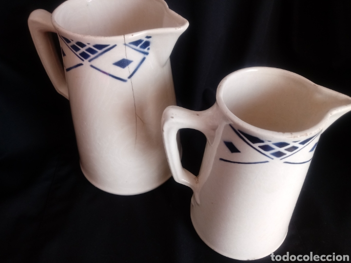 Antigüedades: Pareja de jarras lecheras de cerámica vidriada - Foto 4 - 181179208