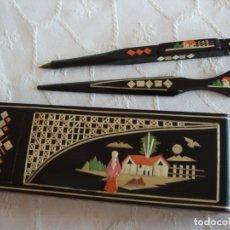 Antigüedades: CAJA CHINA ARTESANAL MADERA Y MIMBRE. ABRECARTAS Y BOLIGRAFO. Lote 181181005