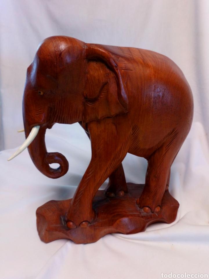 Antigüedades: Elefante tallado en madera - Foto 3 - 181188430