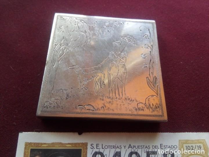 CAJA ANTIGUA DE MAQUILLAJE DE PLATA. 102,7 GRAMOS (Antigüedades - Platería - Plata de Ley Antigua)