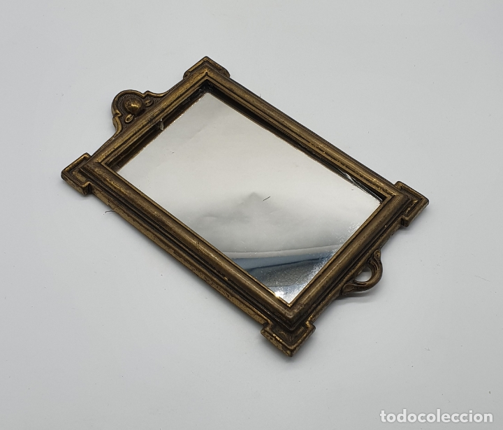 Antigüedades: Elegante espejo antiguo de estilo art decó en bronce . - Foto 2 - 181209207