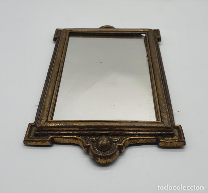 Antigüedades: Elegante espejo antiguo de estilo art decó en bronce . - Foto 3 - 181209207
