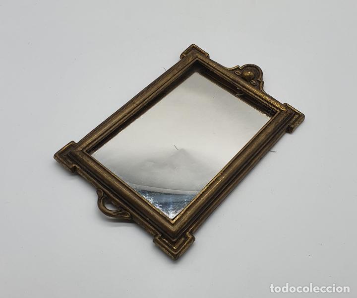 Antigüedades: Elegante espejo antiguo de estilo art decó en bronce . - Foto 4 - 181209207