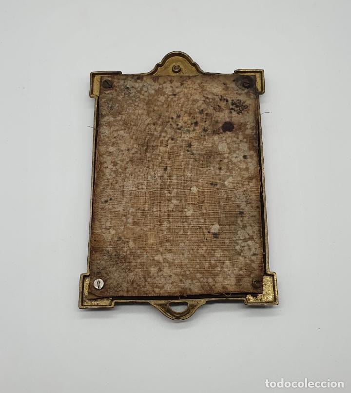 Antigüedades: Elegante espejo antiguo de estilo art decó en bronce . - Foto 5 - 181209207