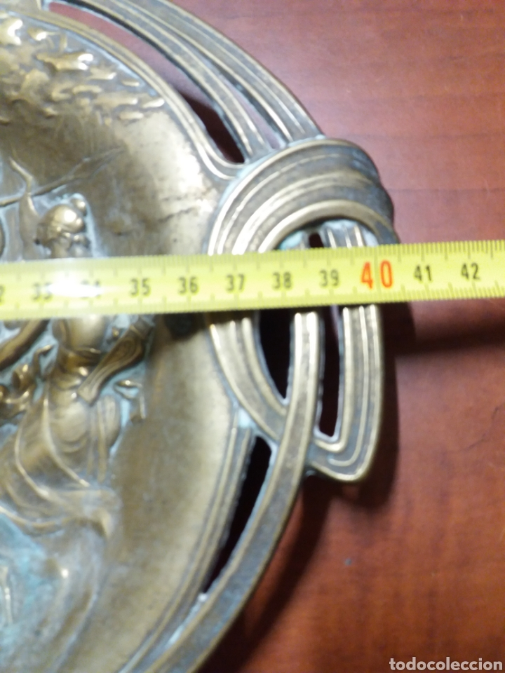 Antigüedades: bandeja antigua modernista de bronce.firmada - Foto 6 - 181224416