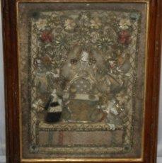 Antigüedades: INTERESANTE RELICARIO - SG XVIII - BORDADO EN PLATA - SAN PEDRO Y SAN PABLO.. Lote 181323205