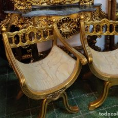 Antigüedades: SILLAS ANTIGUAS EN PAN DE ORO. Lote 181323540