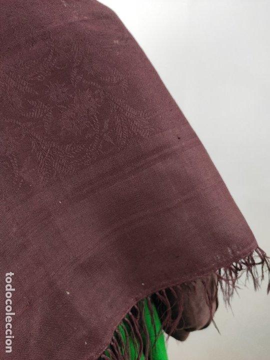 Antigüedades: Antiguo mantón de merino color vinagre - Foto 4 - 181335000