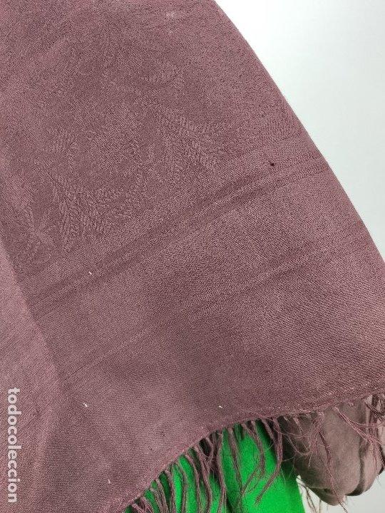 Antigüedades: Antiguo mantón de merino color vinagre - Foto 8 - 181335000