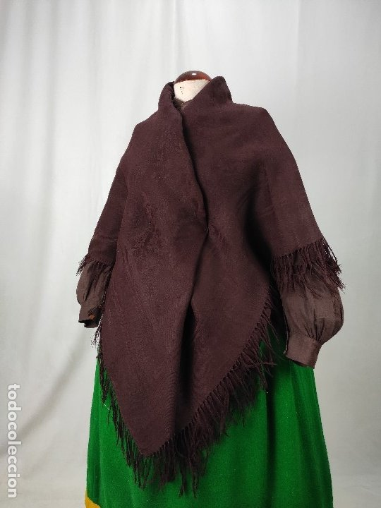 Antigüedades: Antiguo mantón de merino color vinagre - Foto 10 - 181335000