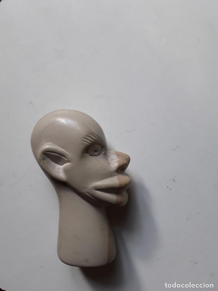 Antigüedades: Cabeza de hombre con rasgos africanos u orientales. En piedra. 10.5 cm x 7.5 cm x 3.6 cm aprox - Foto 2 - 181340173