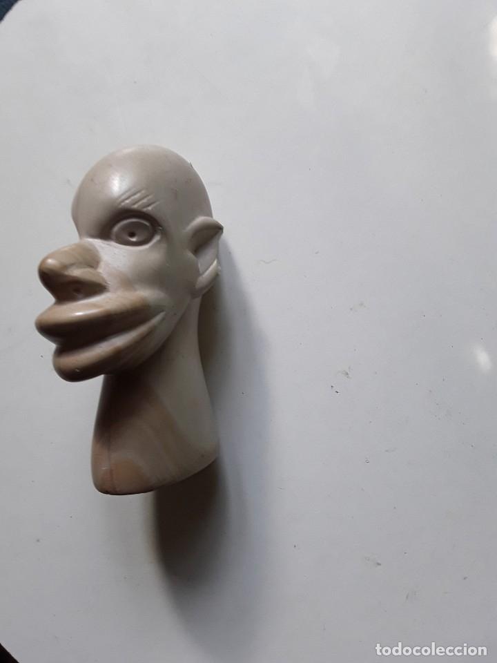 Antigüedades: Cabeza de hombre con rasgos africanos u orientales. En piedra. 10.5 cm x 7.5 cm x 3.6 cm aprox - Foto 3 - 181340173