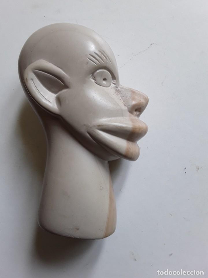 Antigüedades: Cabeza de hombre con rasgos africanos u orientales. En piedra. 10.5 cm x 7.5 cm x 3.6 cm aprox - Foto 6 - 181340173