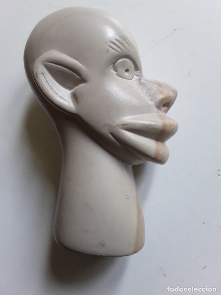 Antigüedades: Cabeza de hombre con rasgos africanos u orientales. En piedra. 10.5 cm x 7.5 cm x 3.6 cm aprox - Foto 7 - 181340173