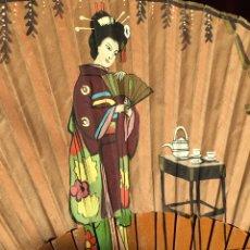 Antigüedades: PRECIOSO ABANICO ANTIGUO JAPÓN CHINA PINTADO A MANO. Lote 181357875