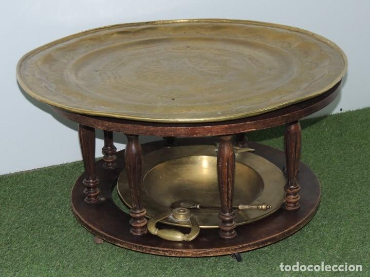 ESPECTACULAR MESA BAJA DE BRASERO CON PLATO ÁRABE ¡SOLO RECOGIDA LOCAL! (Antigüedades - Muebles Antiguos - Mesas Antiguas)