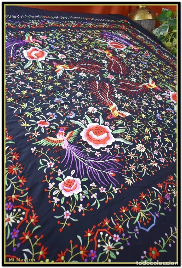 Antigüedades: Manton de manila seda bordada a mano - Foto 2 - 181391678