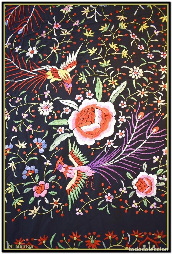 Antigüedades: Manton de manila seda bordada a mano - Foto 4 - 181391678