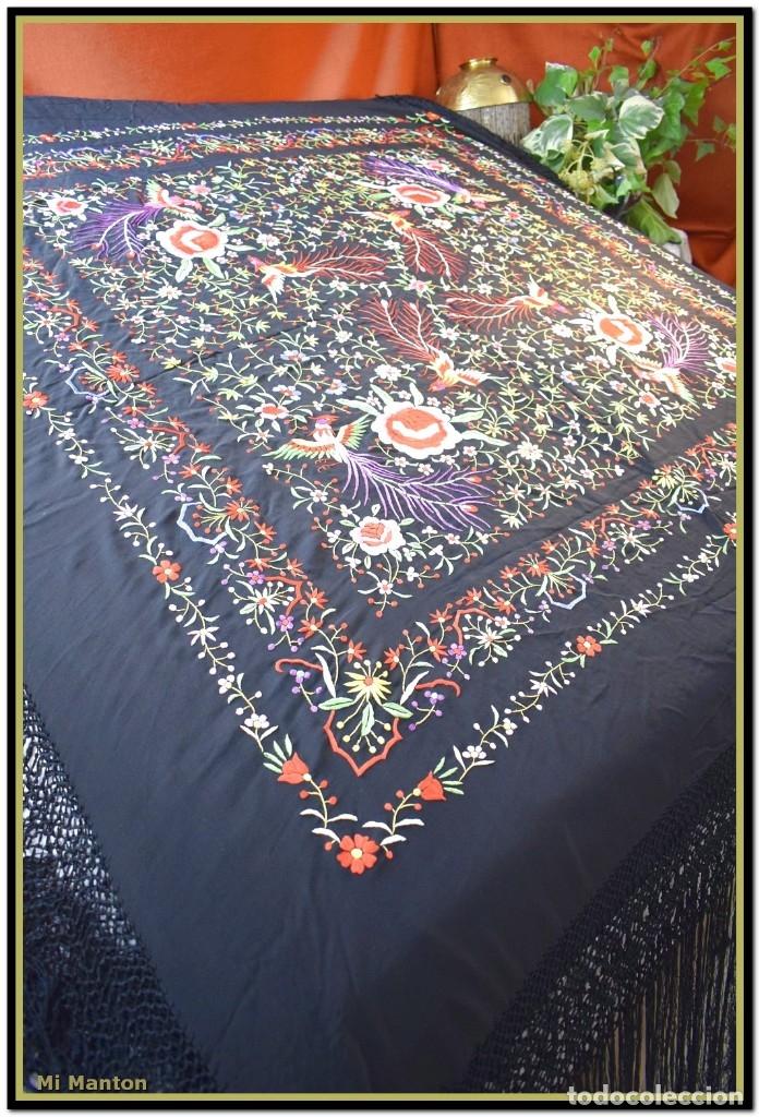 Antigüedades: Manton de manila seda bordada a mano - Foto 5 - 181391678
