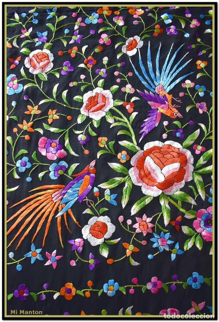 Antigüedades: Manton de manila seda bordada a mano - Foto 2 - 181391977