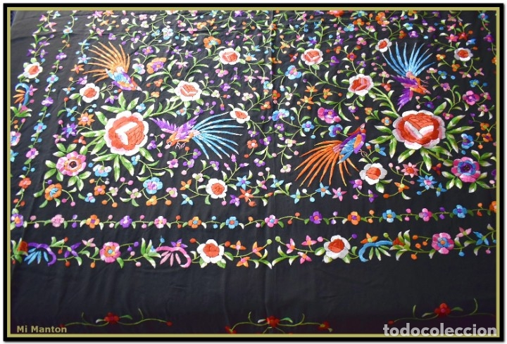 Antigüedades: Manton de manila seda bordada a mano - Foto 3 - 181391977