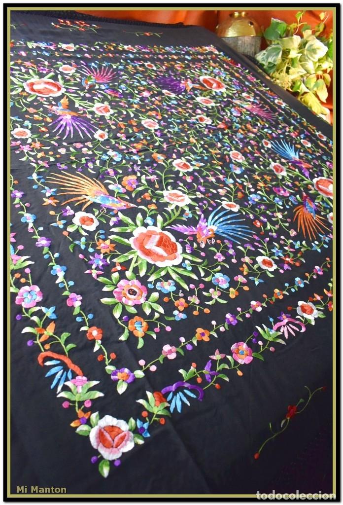 Antigüedades: Manton de manila seda bordada a mano - Foto 4 - 181391977