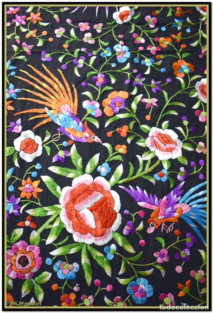 Antigüedades: Manton de manila seda bordada a mano - Foto 5 - 181391977