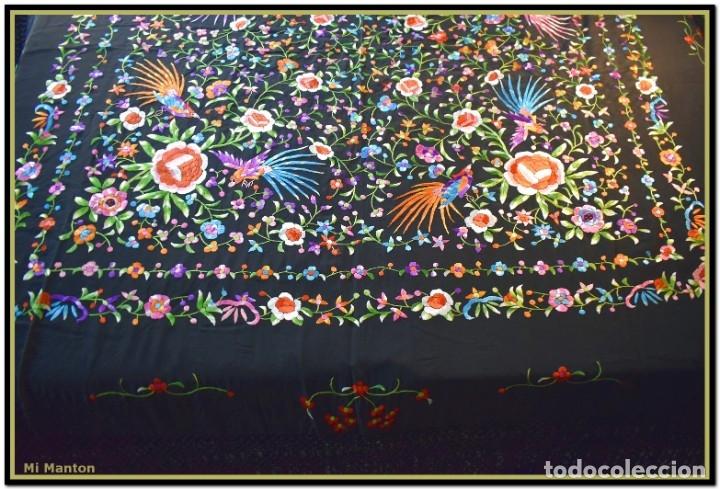 Antigüedades: Manton de manila seda bordada a mano - Foto 7 - 181391977