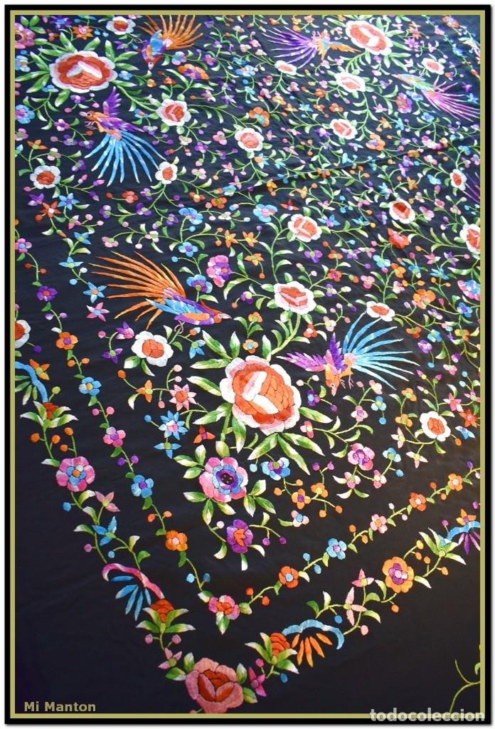 Antigüedades: Manton de manila seda bordada a mano - Foto 8 - 181391977