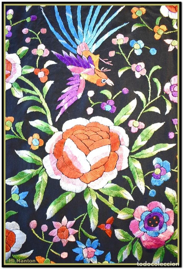 Antigüedades: Manton de manila seda bordada a mano - Foto 9 - 181391977
