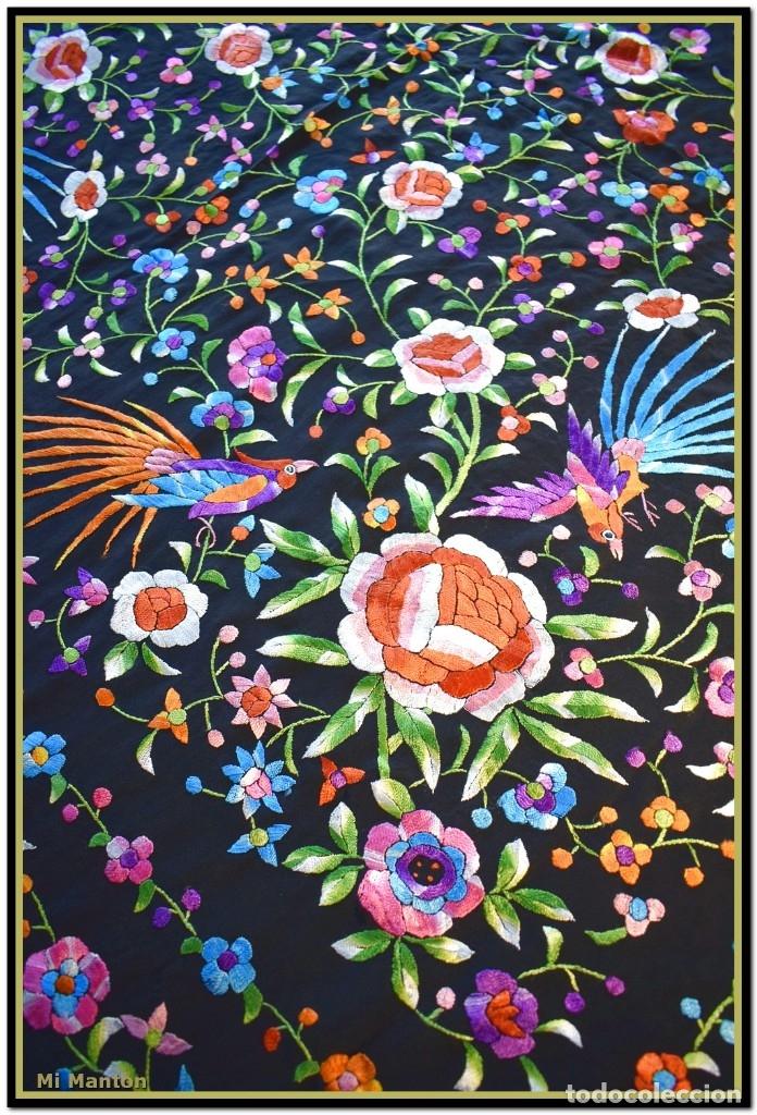 Antigüedades: Manton de manila seda bordada a mano - Foto 10 - 181391977