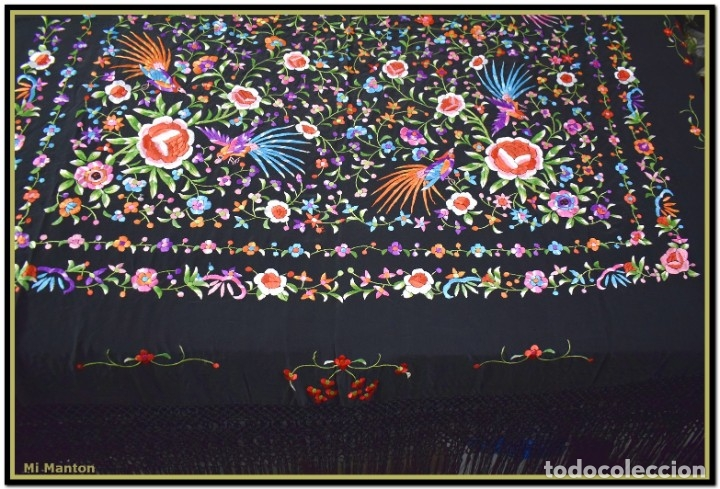 Antigüedades: Manton de manila seda bordada a mano - Foto 11 - 181391977