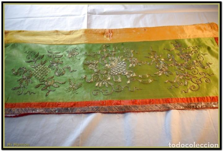Antigüedades: Manton de manila seda bordada a mano - Foto 12 - 181391977