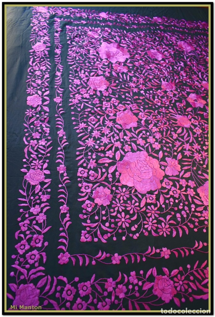 Antigüedades: Mi Mantón. Mantón de Manila, seda bordada a mano negro y rosa fucsia - Foto 2 - 181392522